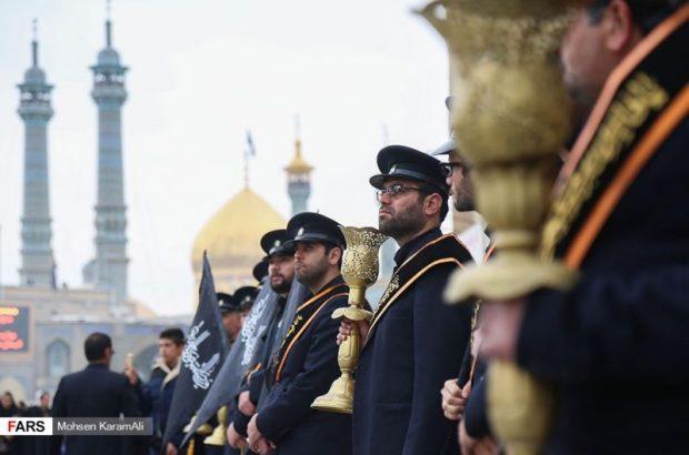 برپایی دسته عزای خادمان و زائران در سالروز رحلت حضرت معصومه(س)