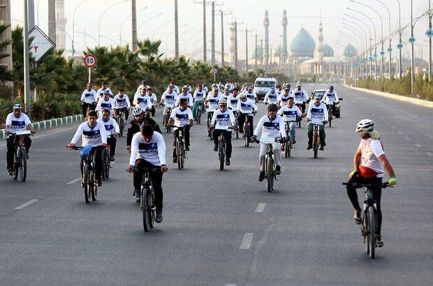 همایش دوچرخهسواری با شعار «مصرف بهینه آب» در قم برگزار شد
