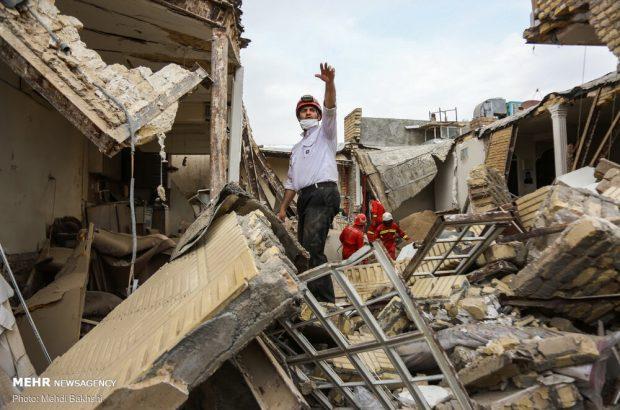 تصاویر انفجار ساختمان مسکونی در قم
