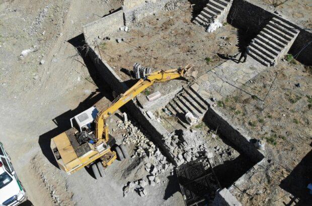 تخریب ویلاهای غیرمجاز روستای خاوه قم