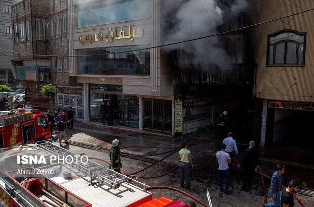 آتشسوزی کارگاه تعمیر خودرو در قم +تصاویر