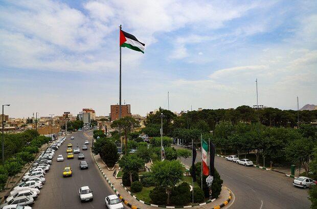 اهتزاز پرچم فلسطین در قم +تصاویر