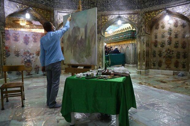 صحنه ورود حضرت معصومه(س) به قم روی بوم نقاشی میرود